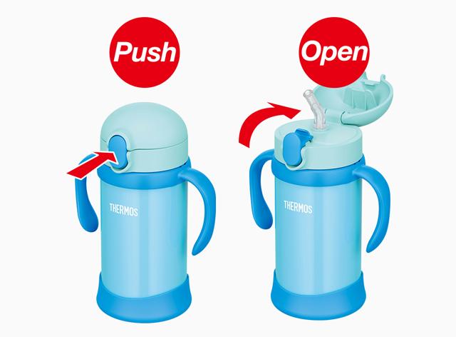 水滴が飛び散りにくい!簡単オープンのキャップユニット