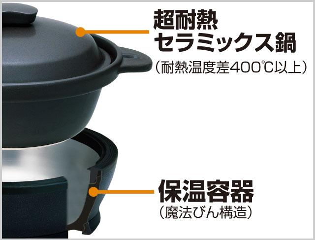 真空断熱の高い保温力が、セラミック鍋の温度をキープして燻し続けます。