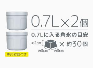 専用容器(0.7L)に入る角氷の目安